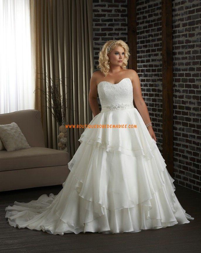 Robe de mariée grande taille organza avec bustier dentelle