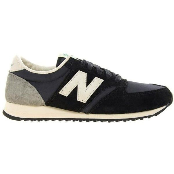 New Balance 420 Premium Trainers ($56) ❤ liked on Polyvore featuring men's fashion, men's shoes, men's sneakers, shoes, sneakers, flats, schuhe, black, new balance mens shoes and mens black sneakers