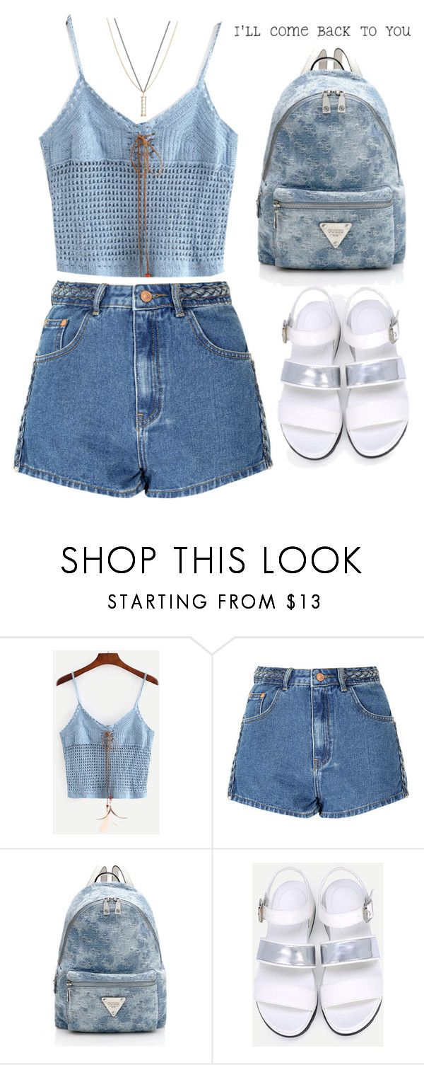 """""""I'll come back to you!"""" by amilla-top ❤ liked on Polyvore featuring Glamorous, ASOS, outfit, denim, backpack, cami and shein"""