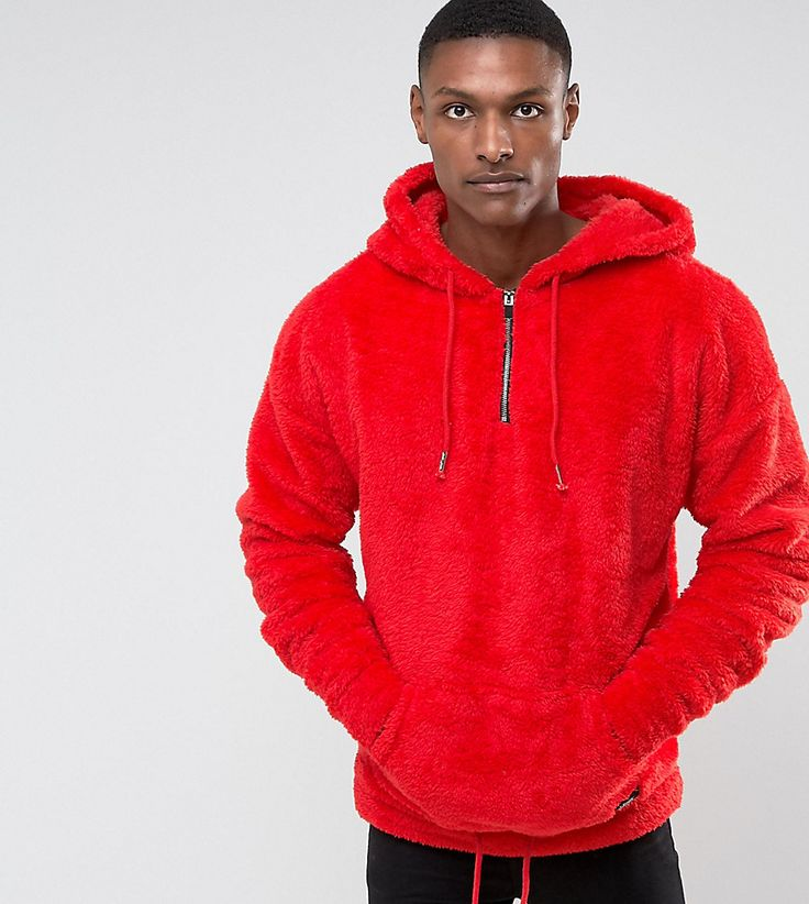 Get this SIXTH JUNE's hooded sweatshirt now! Click for more details.  Worldwide shipping. Sixth June TALL Oversized Hoodie In Red Fluffy Borg -  Red: Hoodie ...