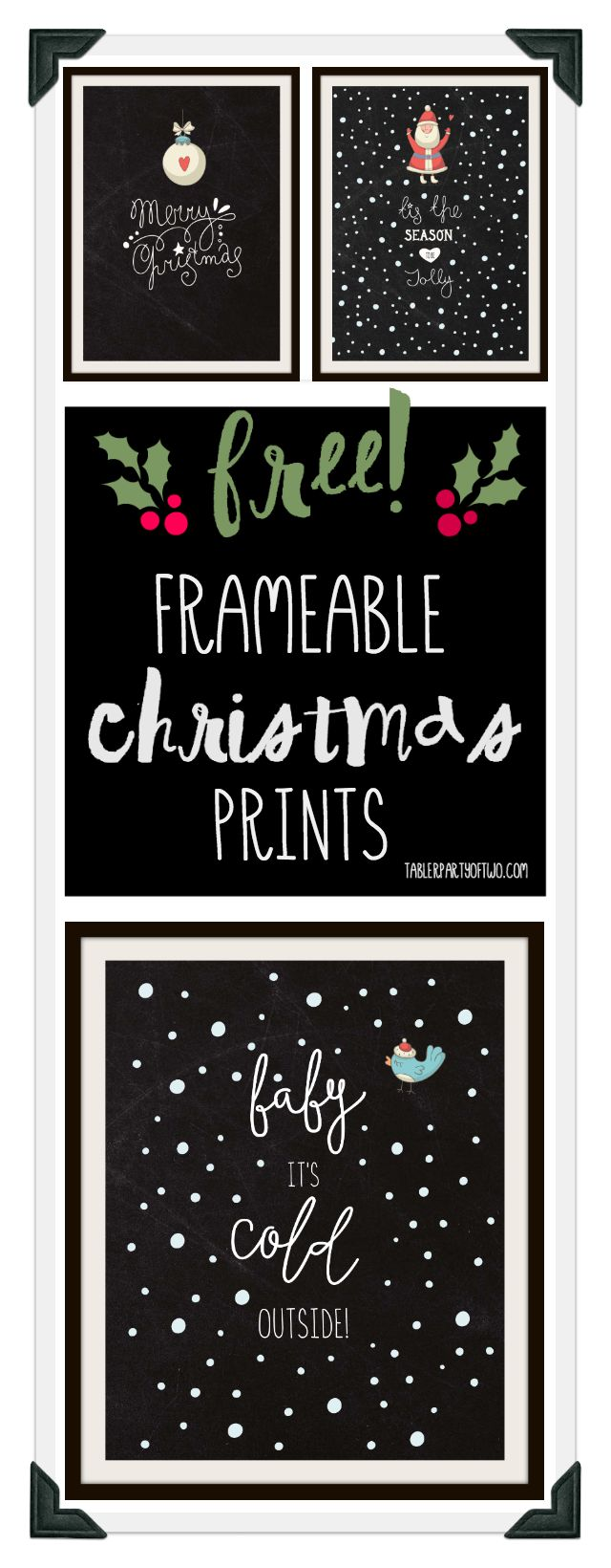 Super cute, fun and FREE Christmas frameable artwork! Three frameable prints, perfect for the holidays. Plus, you can use them as your phone wallpaper!