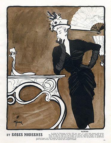 1945 Balenciaga, Illustrator: René Gruau