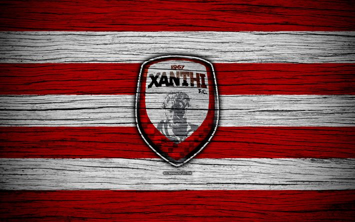 Download wallpapers Xanthi FC, 4k, wooden texture, Greek Super League, soccer, football club, Greece, Xanthi, logo, FC Xanthi