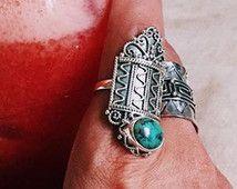 Turquoise Ring, verklaring Gemstone Ring, Boho ringen, Sterling Ring, Bohemian ring, Gypsy Ring, Gepersonaliseerde Ring,