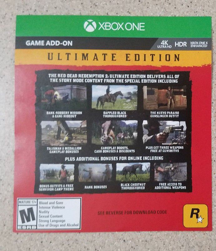 Red Dead Redemption 2 Ultimate Edition DLC Code Xbox One NO