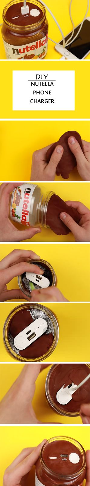 DIY tutorial on how to make a Nutella phone charger.