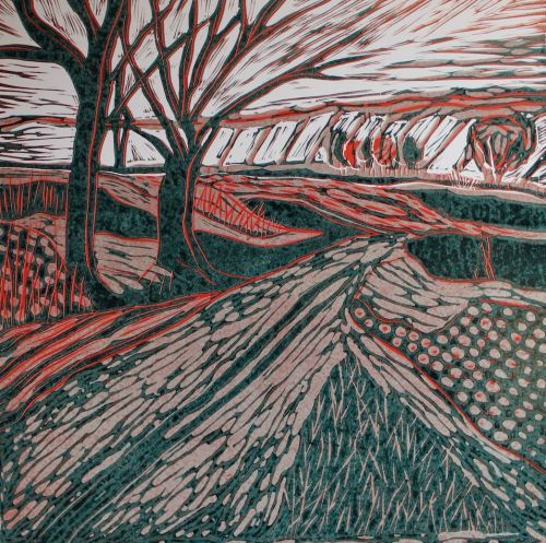 A 3 colour lino on Norfolk landscape by Sarah Cannell