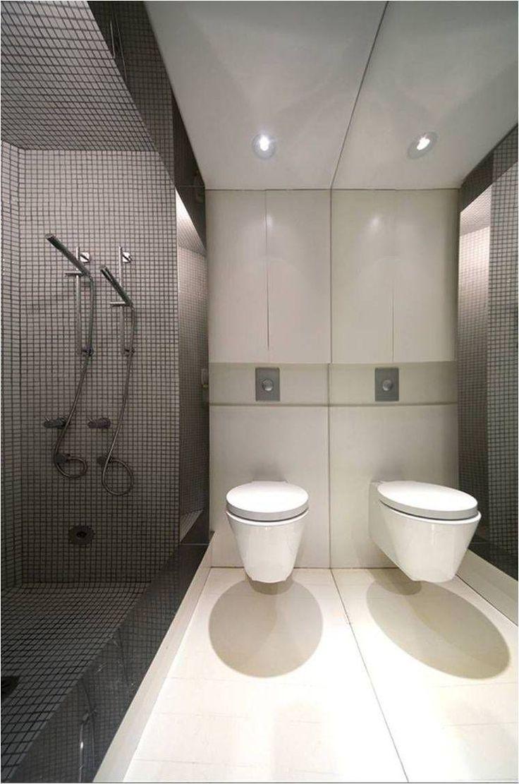 toilette wc suspendu et petite salle de bain avec douche moderne