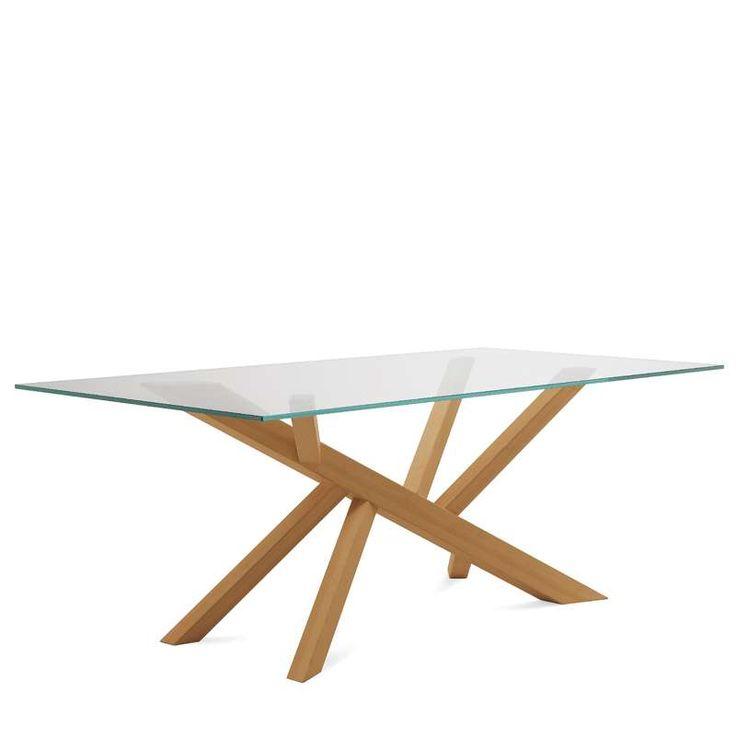 Table design en verre et pieds bois Tree Domitalia® - 4 Pieds : tables, chaises et tabourets