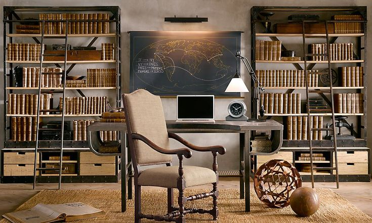 ... layout concept for a home library...dual bookcase shelving with  vintage-style ladders | Book Enthusiast | Pinterest | Aesthetics,