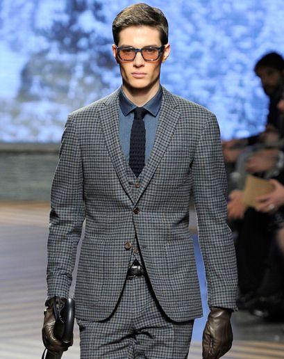 The GQ Fall 2012 Trend Report: 3-peice suit, checked plaid, indigo shirt, knit tie (Ermenegildo Zegna)