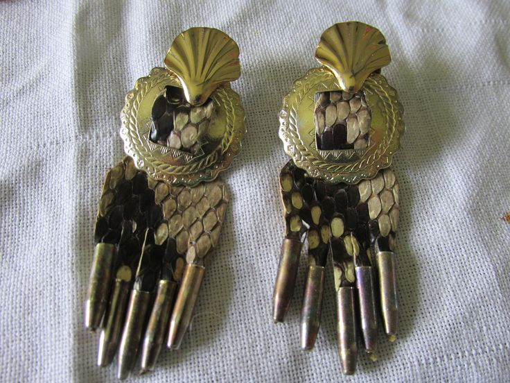 """Vintage Tribal SNAKE SKIN Pierced EARRINGS Hand Made Measures 3"""" x 1  1/8"""" Marked Pat. Pend. Ladies Collectible Gift Southwestern Style by GrammiesCupboard on Etsy"""