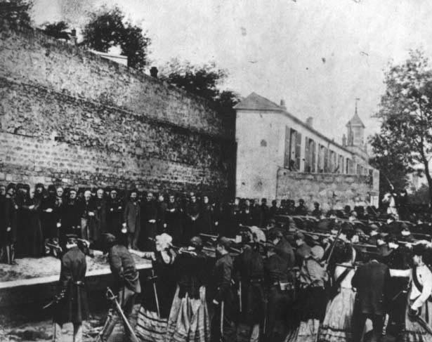 Parisians executing members of the Paris Commune, 1871, during the semaine sanglante, when 20,000 members of the commune were executed. <:((((><(