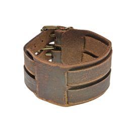 Wide, brown, leather bracelet