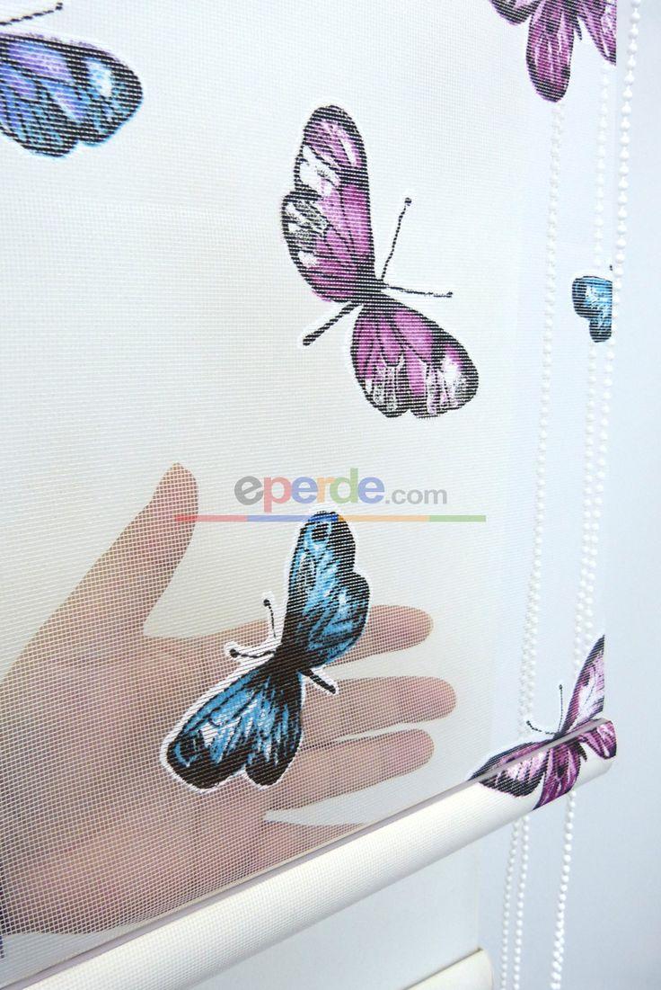 Kelebek Desenli Yakma Tül Çiftli Sistem İkili Perde 145-2