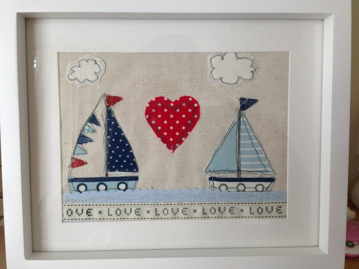 Love Boats Beach Hut Seaside Nautical Embroidered Sewn Fabric Picture Framed