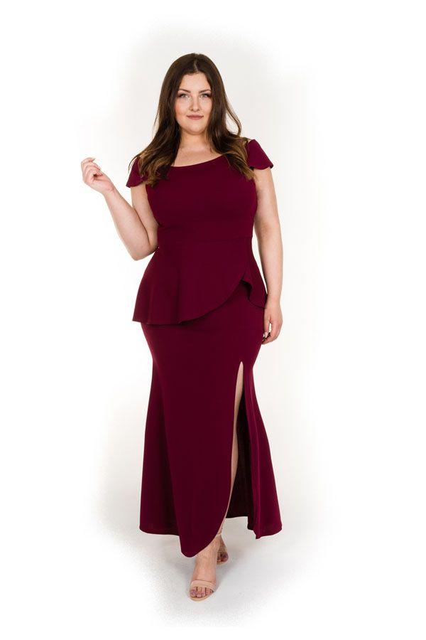 a3400956ada3d9 Długa suknia wieczorowa plus size bordowa - Duże rozmiary // Sukienki na  wesele i inne okazje. Znajdź wymarzoną sukienkę, pokaż swój styl!