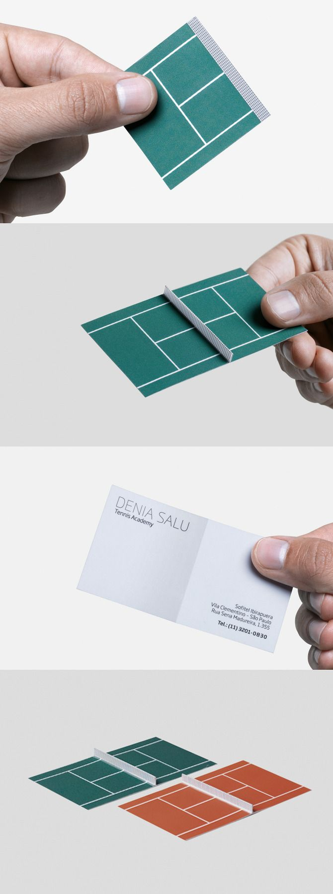 Tennis academy business card opens up into a tennis court!