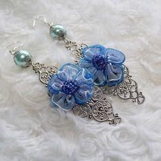Boucles d'oreille argentée filigrane à noeud fleur et perle