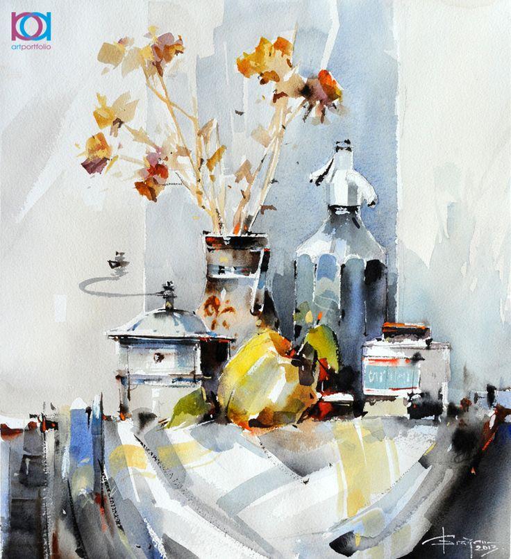 Corneliu Drăgan -Târgovişte - Natură moartă cu sifon şi râşniţă / Still life with soda bottle and grinder, 42 x 42 cm, acuarelă / watercolour