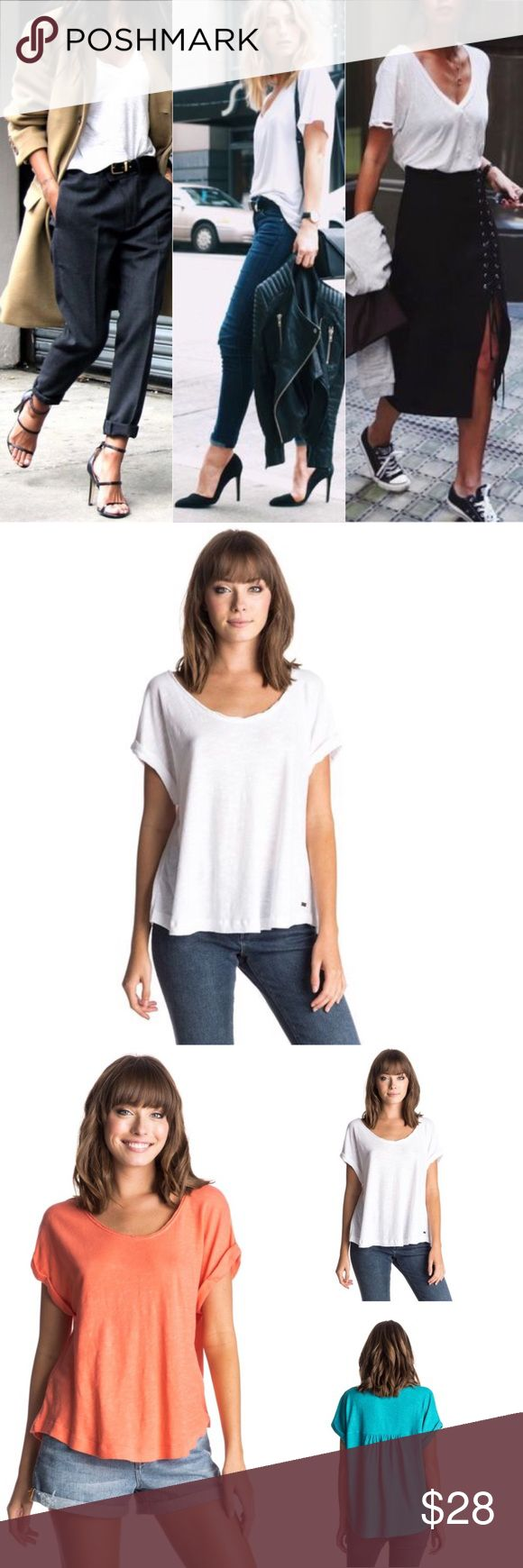Roxy Point Dume Slub Tee Roxy Point Dume Slub Tee  Point Dume Tee Roughed back Oversized fit  Rolled sleeve Rolled scoop neck 100% Cotton Features a natural SLUB effect on the surface - see images  Extremely soft and functional not your basic tee *Selling white posted color to only show detail of Point Dume Tee  Source Roxy Quicksilver boutique Retail 42.5 Roxy Tops Tees - Short Sleeve