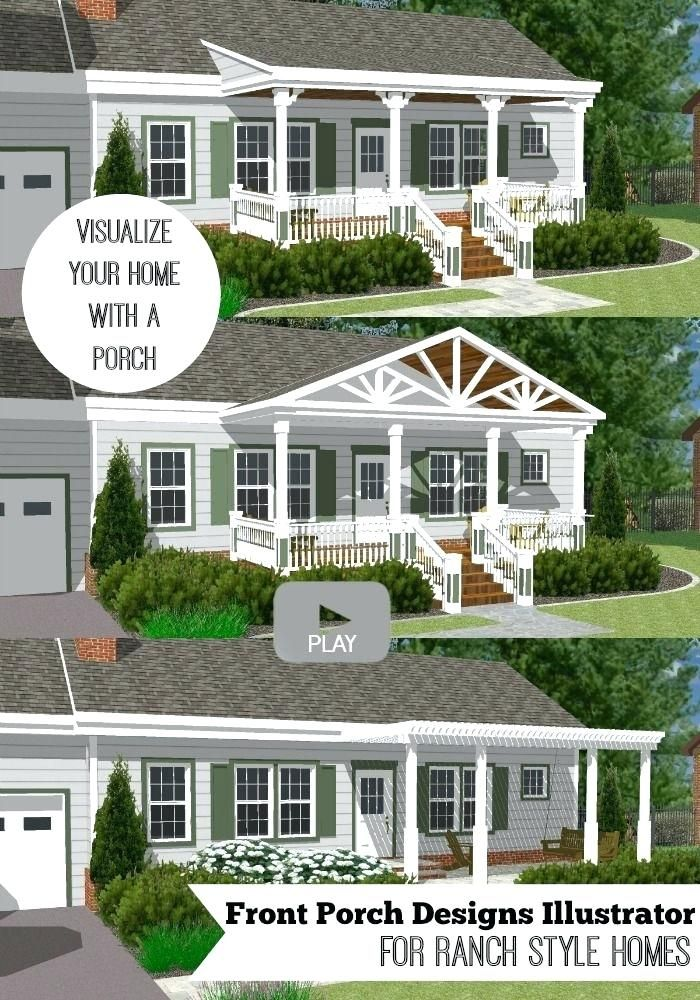 Front Porch Ideas For Ranch Style Homes Before And After Great Front Porch Designs Illustrator On A Basic Ran