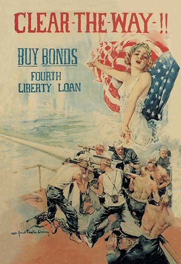 Clear the Way! Buy Bonds - Fourth Liberty Loan by Howard Chandler Christy -#Art Print #FlaggandChristyWorldWarI #Military #posters https://postercrazed.com/product/clear-the-way-buy-bonds-fourth-liberty-loan-by-howard-chandler-christy-art-print/