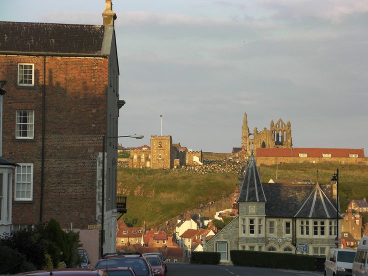 """Coming into Whitby, N. Yorkshire off the A17.  The ruined abbey inspired Bram Stoker to write (and set some of) """"Dracula"""" here. Hmm, not much daylight left..."""