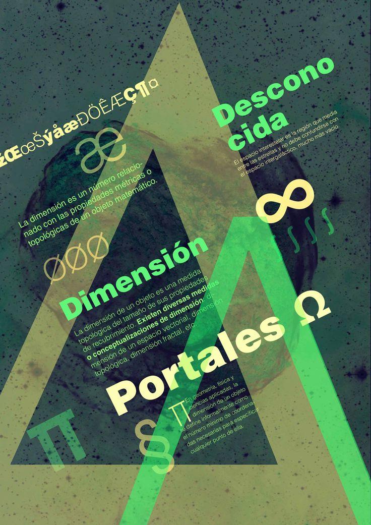 Composición tipográfica de relación figura y fondo acerca de las dimensiones y portales. Typesetting figure-ground relationship about the dimensions and portals.