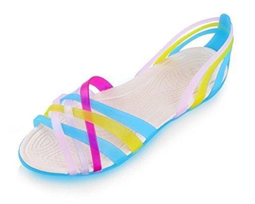 Oferta: 5.32€. Comprar Ofertas de Mine tom Mujeres Zapatos Jalea Sandalias Planas Talón Sandalias Verano Cruzan Bandas Playa Zapatillas Azul 38 barato. ¡Mira las ofertas!