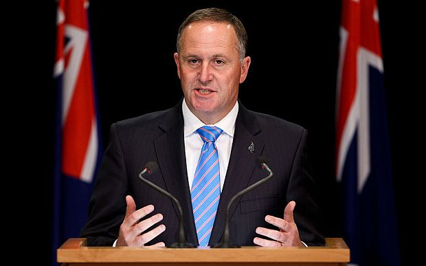 New Zealand Prime Minister John Key announces his new Ministry at Beehive Theatrette in Wellington, New Zealand