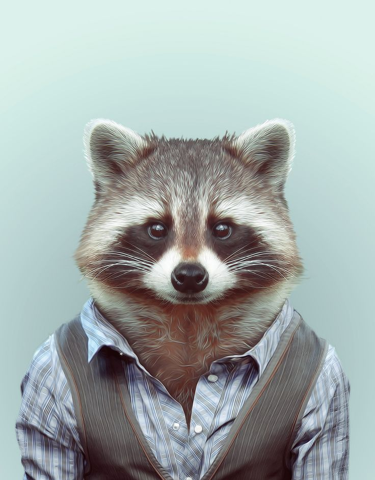 Zoo Portraits by artist Yago Partal combine photography with fashion illustration where Partal's photos of animals are dressed up in human clothing, their dappe