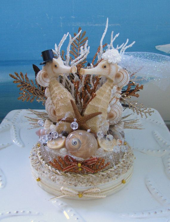 Seahorse Seashell Wedding Cake TopperCoral By CeShoreTreasures