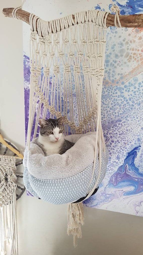 Macrame Cat Hammock #crafts for sale lovehandmade.net/ #handmade #craft #crafts