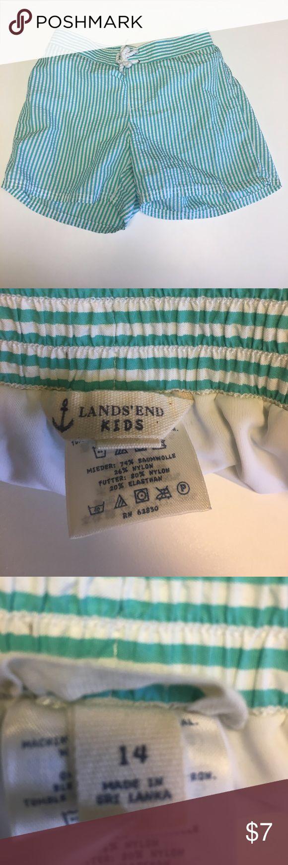 Lands' End Kids seersucker swim trunks 14 Lands' End Kids swim trunks size 14 teal green stripe seersucker Lands' End Swim Swim Trunks