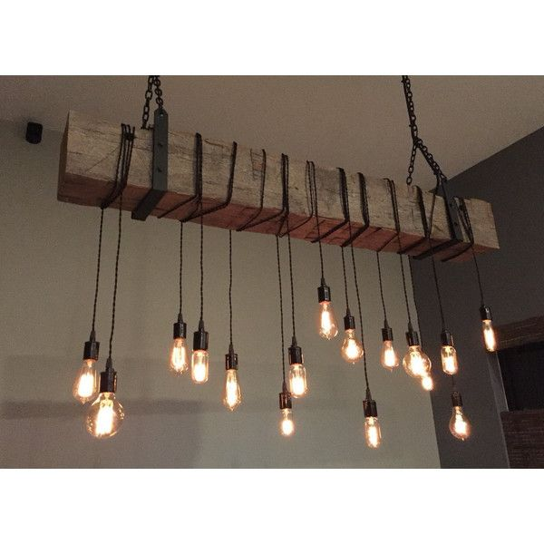 Reclaimed Barn Beam Light Fixture 6 Long Beam 14 Wrapped Led Edison... (3 315 BGN) ❤ liked on Polyvore featuring home, lighting, ceiling lights, dark olive, home & living, wire light, hanging chain lamp, barn light, chain lighting and wire lamp