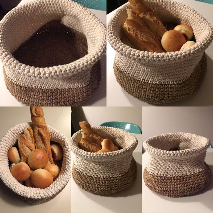 Panière à pain #crochet #jute #coton