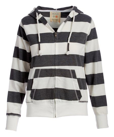 Exist Charcoal & White Stripe Zip-Up Hoodie | zulily