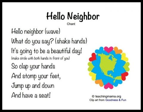 Hello Neighbor good morning preschool circle time song