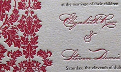 The Chicago letterpress wedding invitation set features a bright pineapple floral graphic perfect for your modern wedding. The invitation is letterpress printed in hot pink and black ink on 220# cotton stock to yield the deepest impression possible.The set also includes a reply card, reception card, and custom lined envelope with return address letterpress printed.