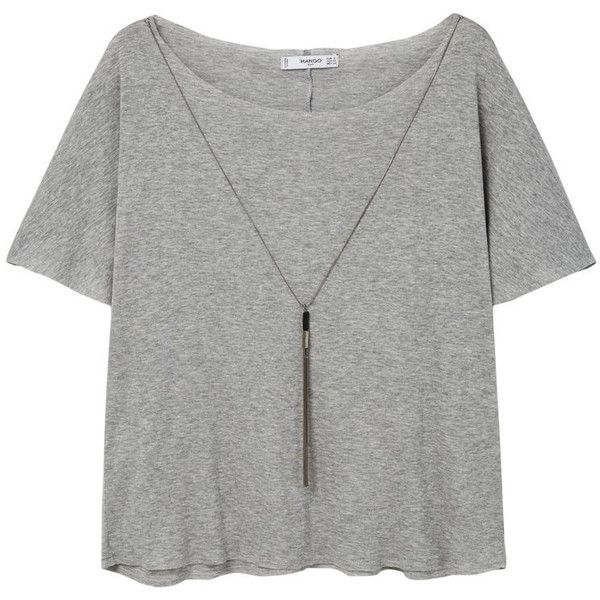 MANGO Decorative Chain T-Shirt found on Polyvore featuring tops, t-shirts, blusas, mango t shirt, embellished t shirts, green off the shoulder top, off shoulder tops and off the shoulder short sleeve tops