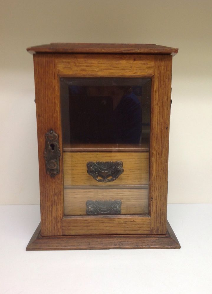 Antique british tiger oak smoke pipe cigar tobacco cabinet