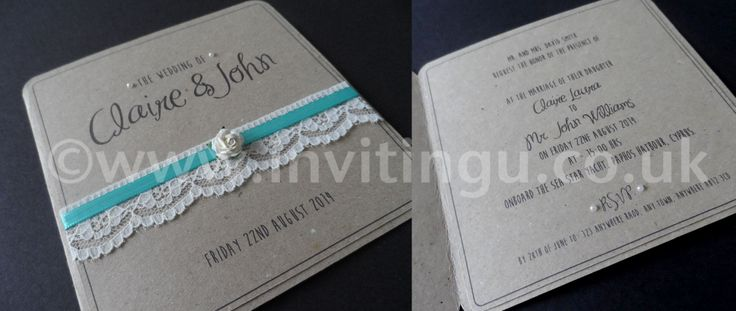 Vintage style wedding invite. 'Oh So Pretty' from ©www.invitingu.co.uk