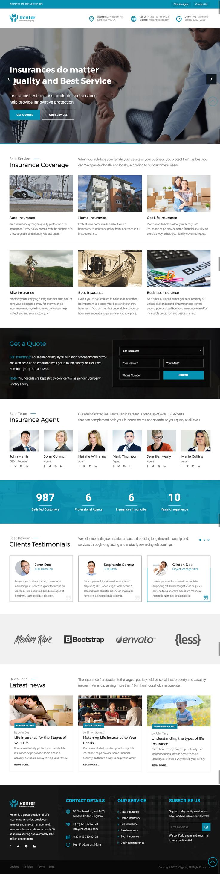 #RenterHtmlTemplate #Renter #iGlyphic #EnvatoMarket #themeforest   Renter is a clean and professional HTML template specially designed for insurance business or small insurance agency. This template comes with twitter bootstrap 3, Owl Carousel, Accordion and more.