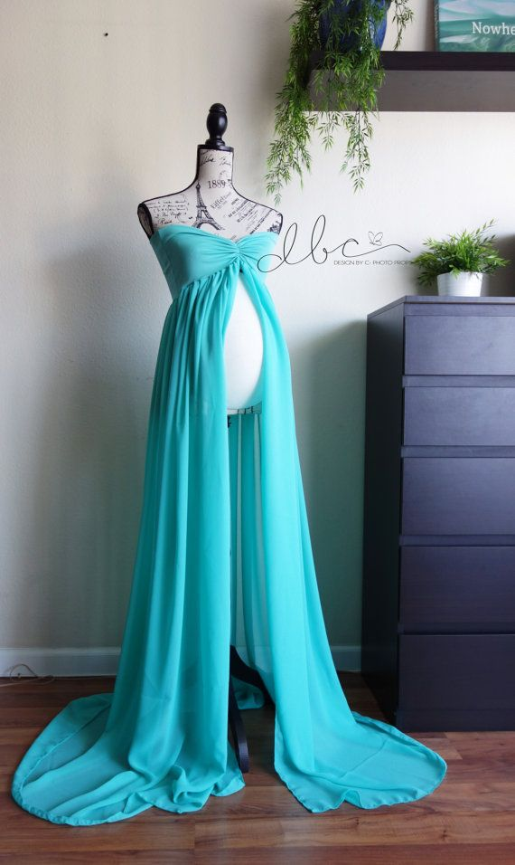 Also like: Blush, Mint, Turqouise, Lilac, and Royal Blue  Vivian gown aqua  maternity Gown  Sheer by designbycboutique