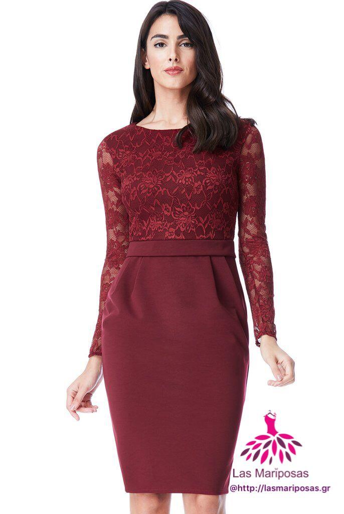Alba Midi Μπορντό δαντελένιο φόρεμα