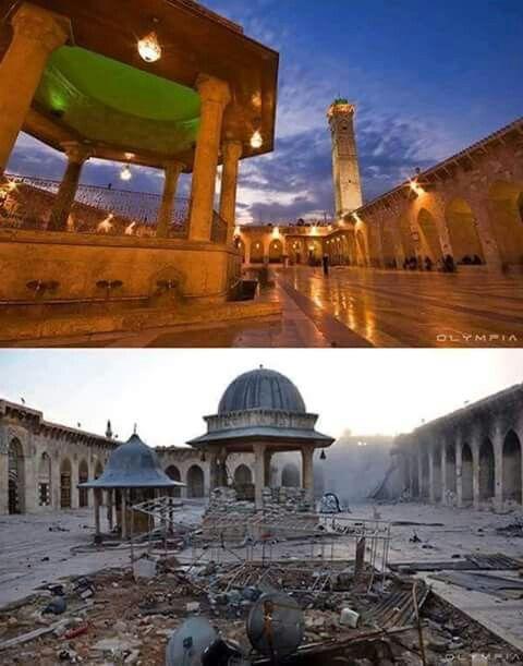 صورة لمدينة حلب قبل وبعد الحرب. Das Bild von der Stadt Aleppo vor und nach dem Krieg.