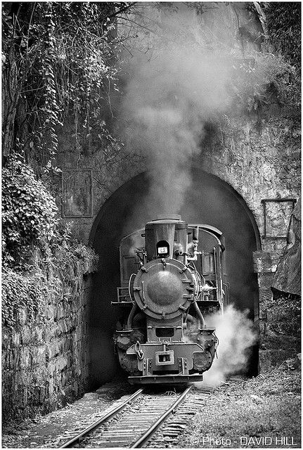 The Tunnel - The C2 class loco charges out of the tunnel just up from Mifengyan station on the Shibanxi narrow gauge railway, Sichuan Province, China. © David Hill December 2008.
