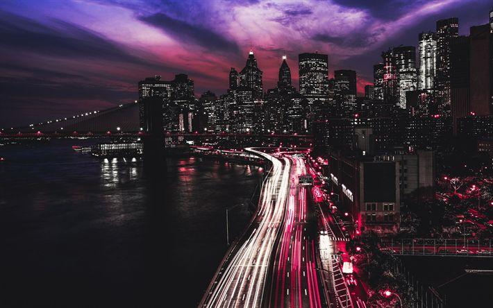 Download wallpapers 4k, Manhattan, traffic lights, road, nightscape, New York, USA, America, NYC