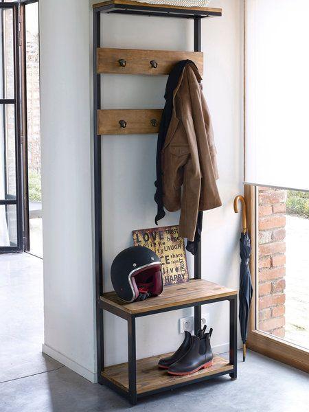 Mueble en hierro y madera con banco, baldas y perchas